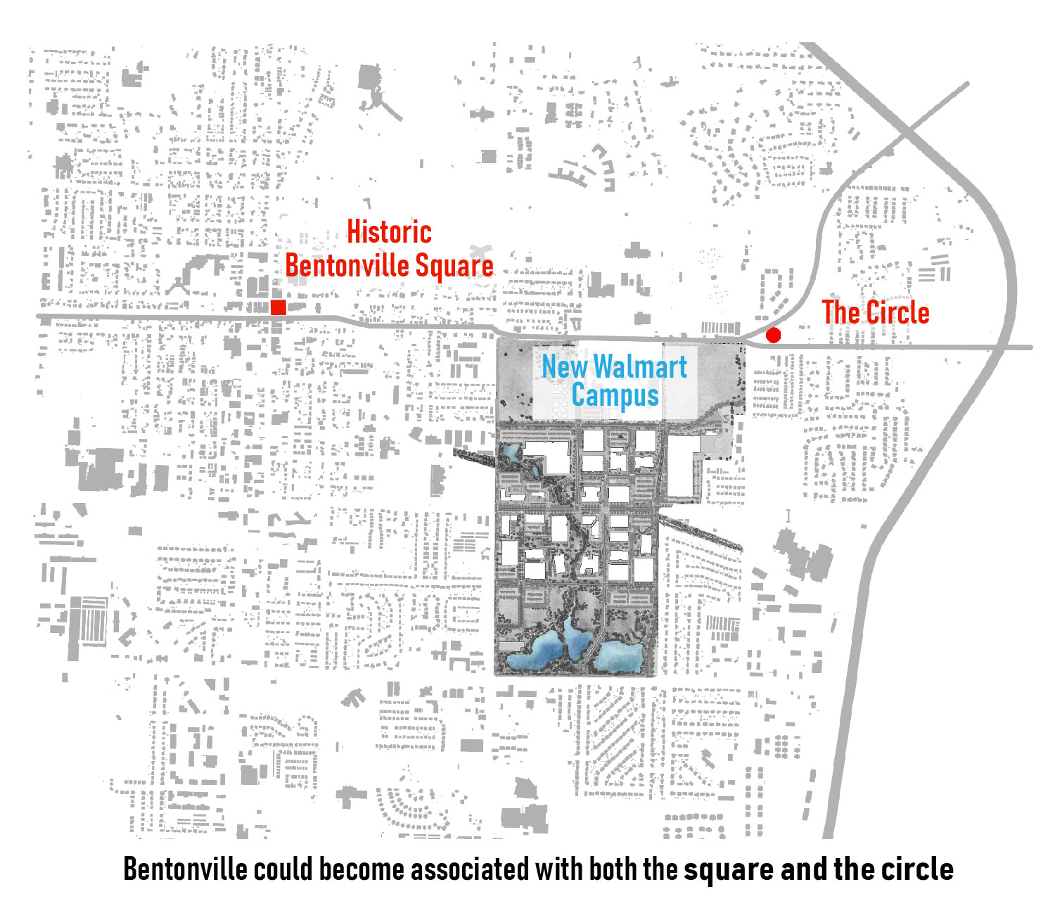 Bentonville could become associated with both the square and the circle. University of Arkansas Community Design Center}