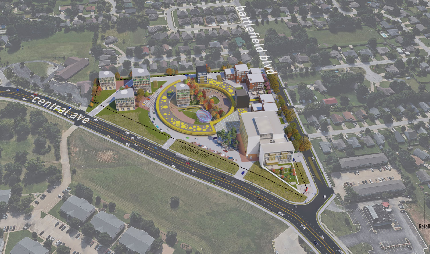 The Circle addresses the needs of both edges while serving as a gateway to downtown Bentonville. University of Arkansas Community Design Center}