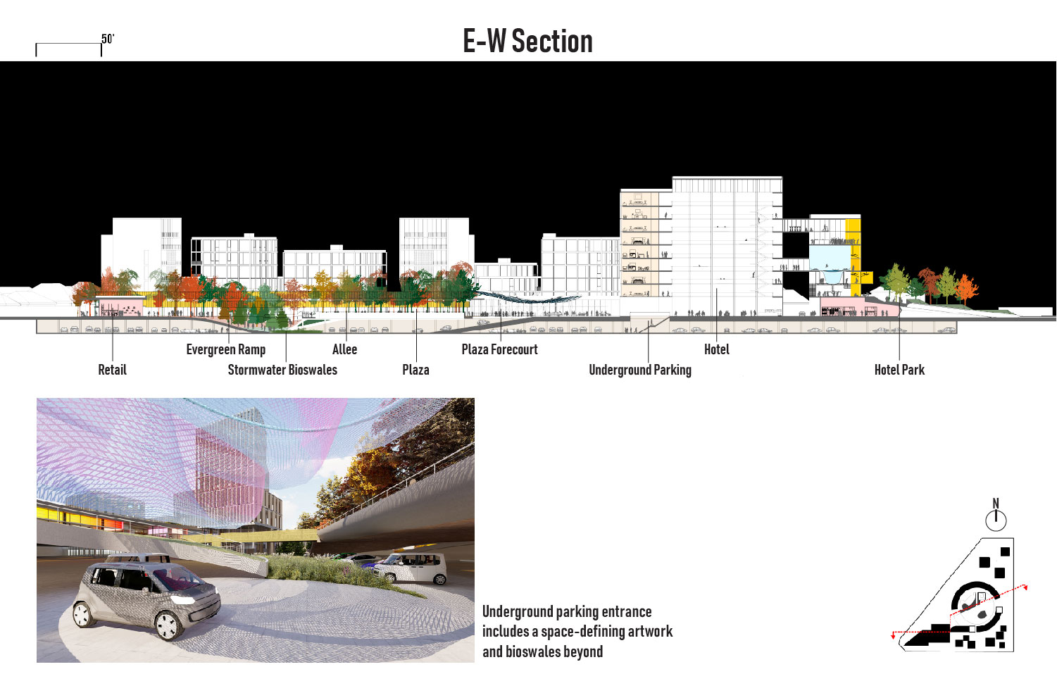 The Circle's plaza folds one level down to connect parking with plaza. University of Arkansas Community Design Center}