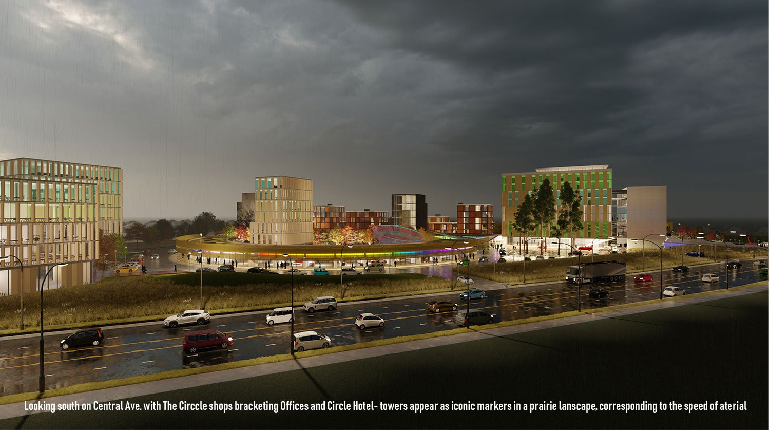 Central Ave commuters see storefront amid a prairie with iconic towers. University of Arkansas Community Design Center}