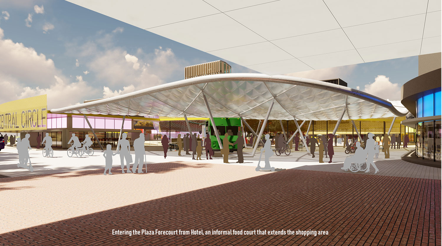 The Plaza Forecourt extends the shopping area to the hotel entry. University of Arkansas Community Design Center}