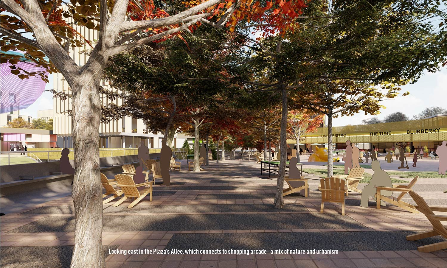 An Allee runs through The Circle's interior: an area for gathering akin to the town square. University of Arkansas Community Design Center}