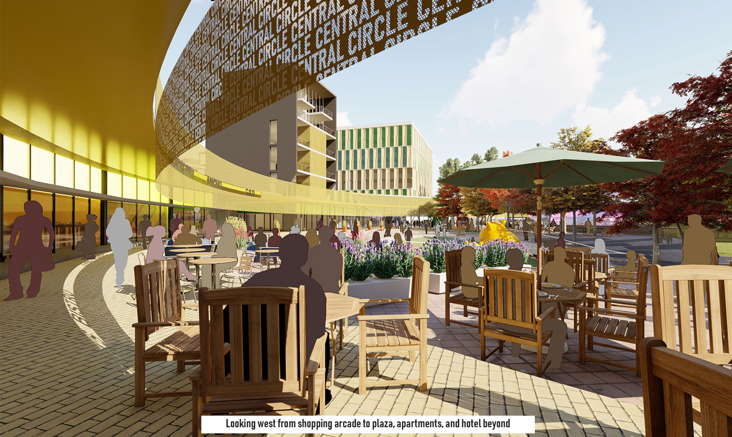 Cafes and restaurant seating spills out from the interior of The Circle onto the plaza. University of Arkansas Community Design Center}