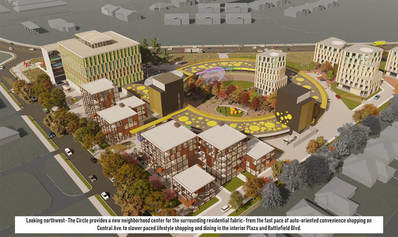 On the south, the flexible superloft housing blocks densifies the residential edge. University of Arkansas Community Design Center}
