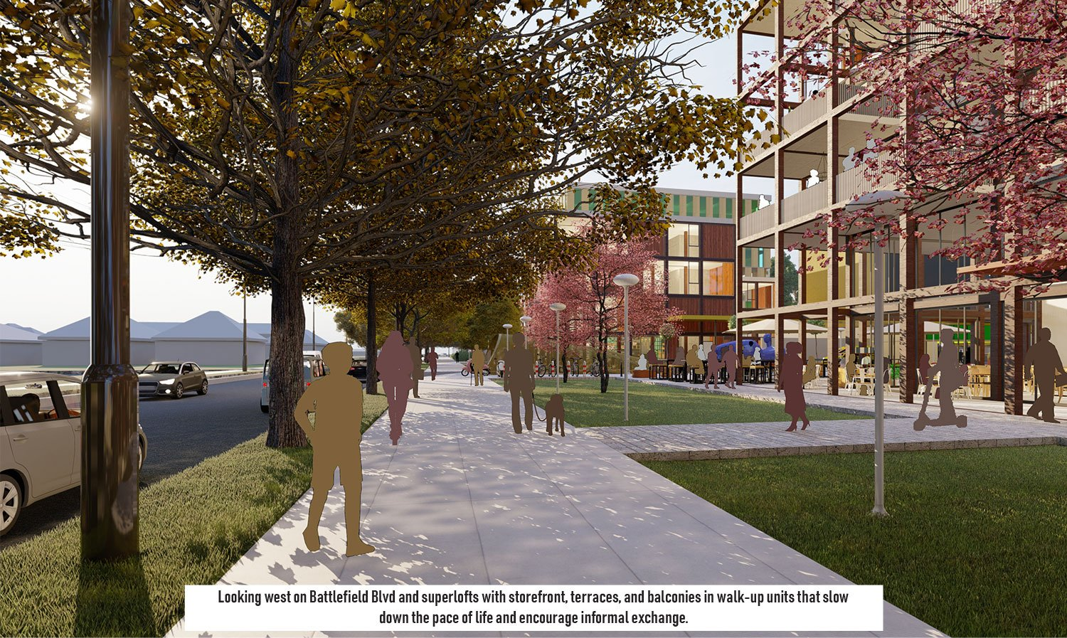 The street edge features generous sidewalks and a dynamic streetscape. University of Arkansas Community Design Center}