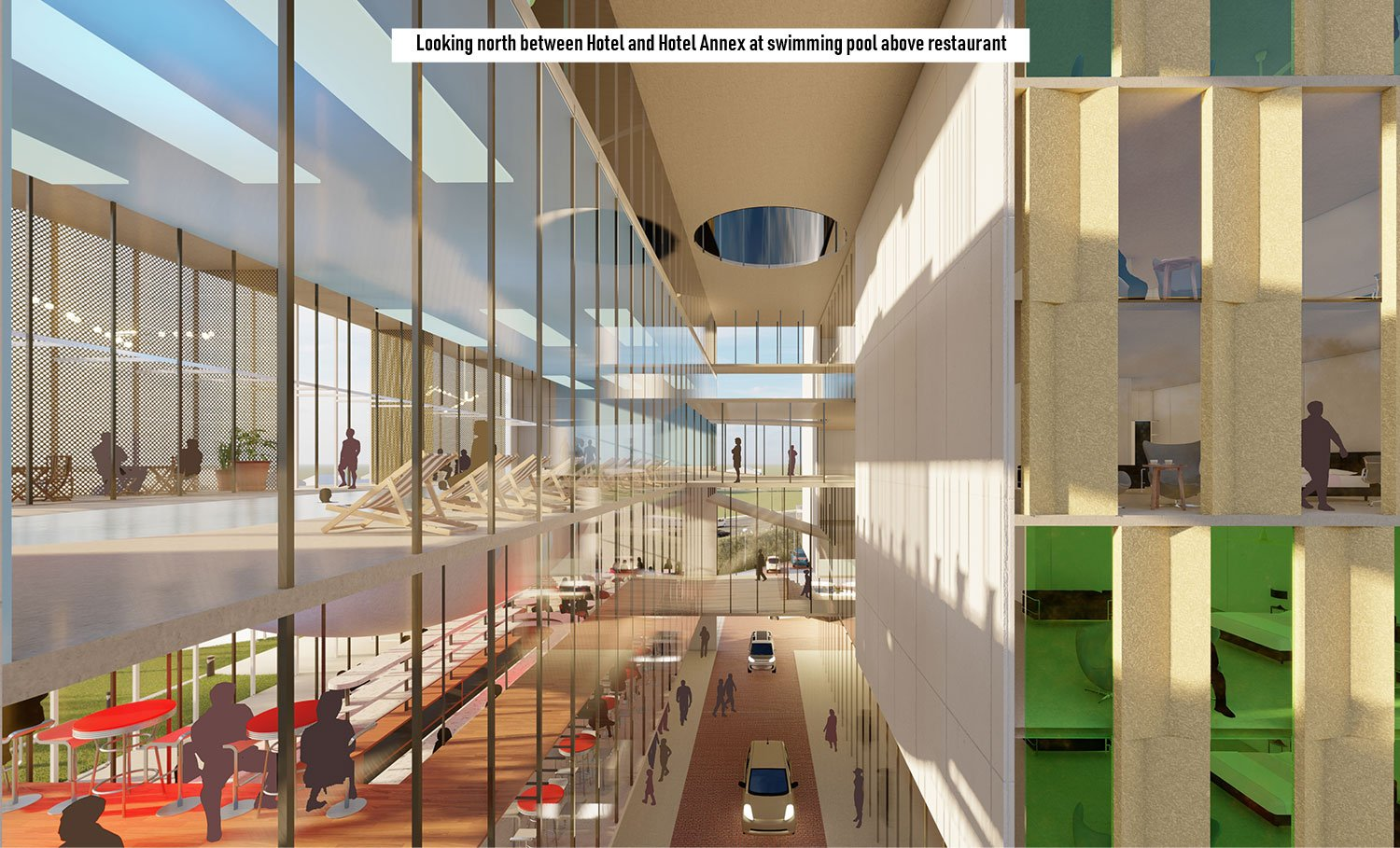 The Hotel Annex stacks public amenities connecting site and guest wing. University of Arkansas Community Design Center}