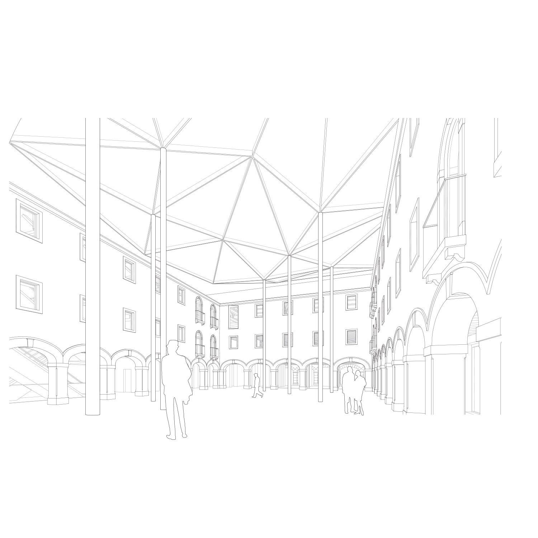 M9 perspective courtyard convent Sauerbruch Hutton}
