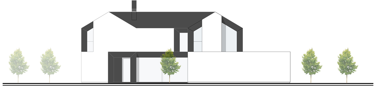 North West Facade - towards the neighbours and the driveway spaces NAT OFFICE - christian gasparini architect}
