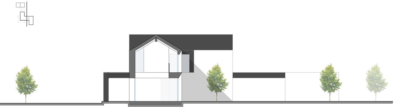 Cross Section AA - Porch Hollow space Zen garden and Dependance NAT OFFICE - christian gasparini architect}