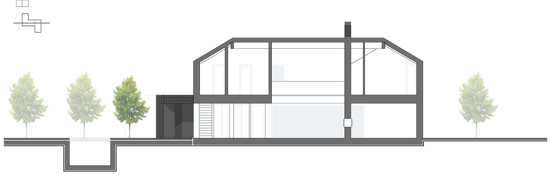 Longitudinal Section BB - Jasmin canopy Kitchen Hollow space and Tv room NAT OFFICE - christian gasparini architect}