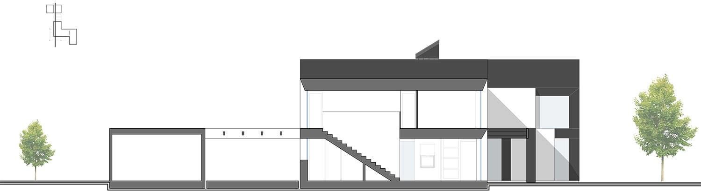 Longitudinal Section DD - Dependance Jasmin canopy Stairs Kitchen and Jasmin canopy NAT OFFICE - christian gasparini architect}