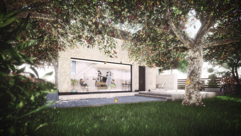 Render vista dal parco privato lato Sud photo © 2020 by GBa Lab direttore Riccardo Brini con GBA Studio srl / Gianluca Brini - Architetto Bologna - Via Andrea C