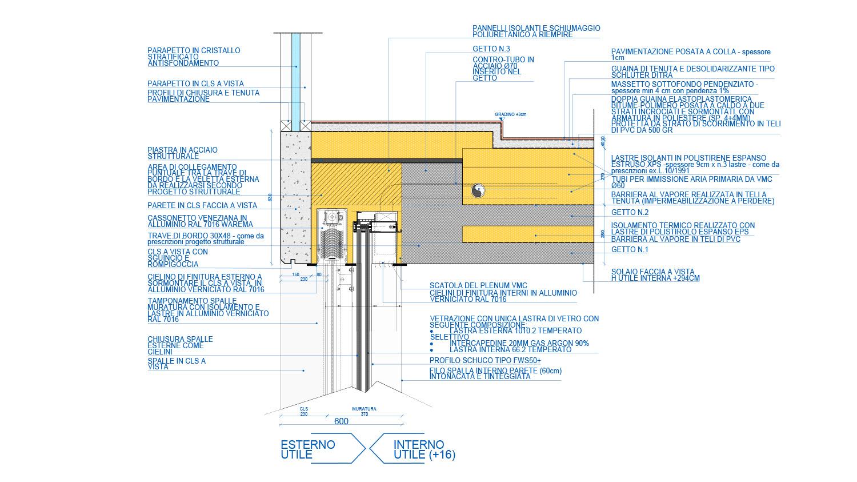 Studio dettaglio esecutivo vetrata panoramica con infisso a scomparsa photo © 2020 by GBA Studio srl / Gianluca Brini - Architetto Bologna - Via Andrea Costa 202/2 http://www.gbastudio.it/}
