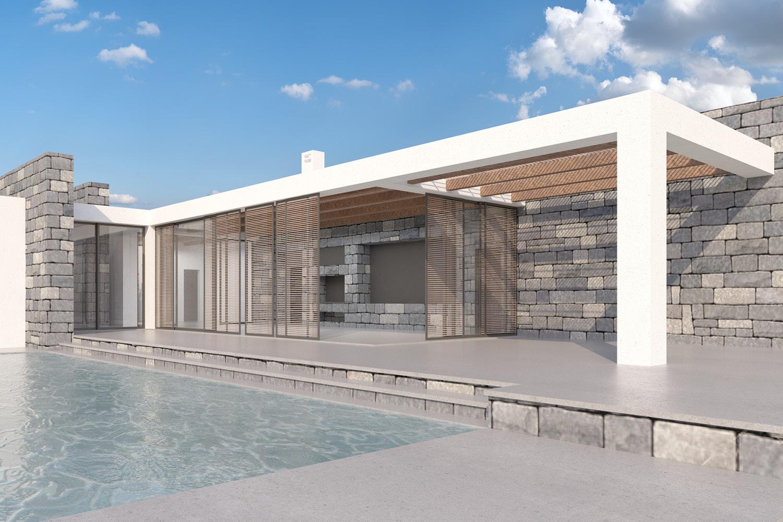 La villa e la piscina Mei e Pilia Associati