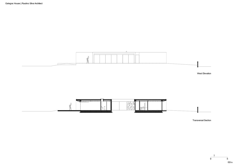 West Elevation and Transversal Section Raulino Silva Architect}