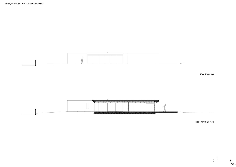East Elevation and Transversal Section Raulino Silva Architect}