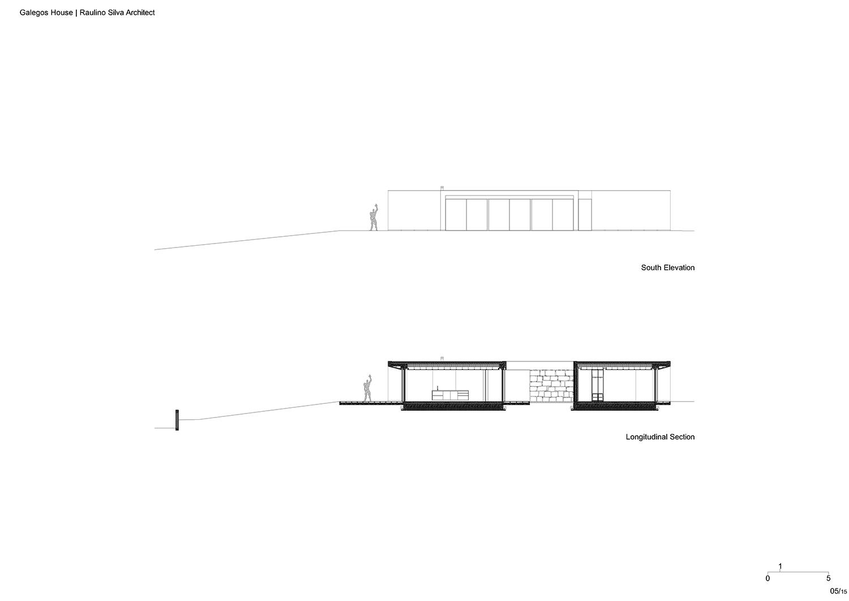 South Elevation and Longitudinal Section Raulino Silva Architect}