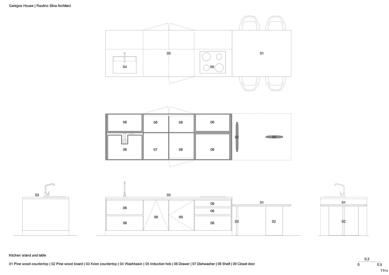 Kitchen island and table Raulino Silva Architect}
