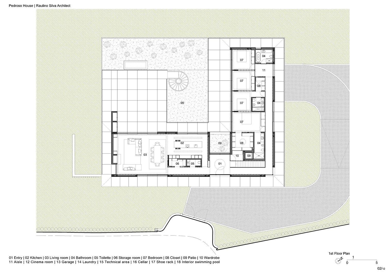 First floor plan Raulino Silva Architect}