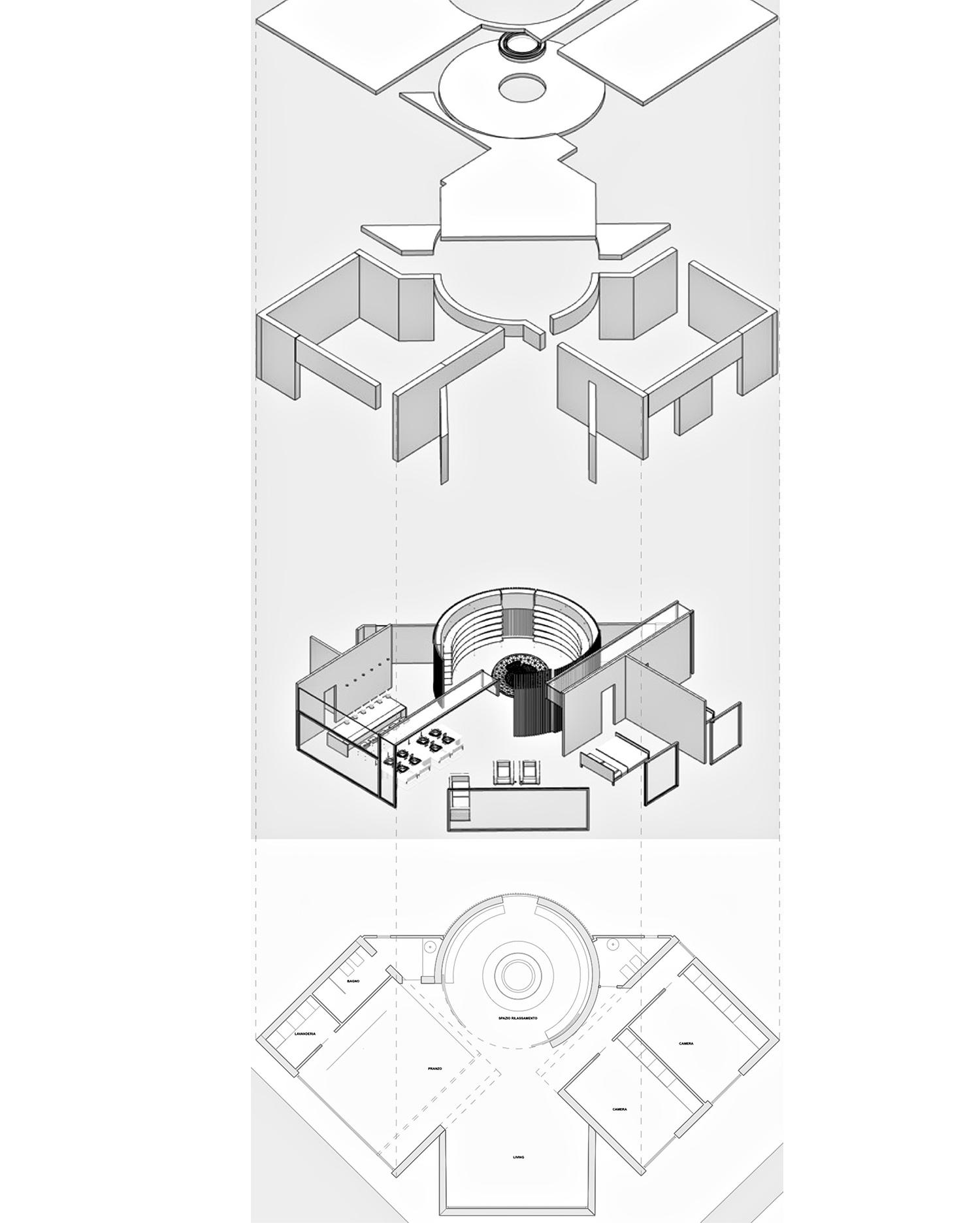 ASSONOMETRIA MODUSLAB ARCHITECTURE INTERIOR DESIGN}
