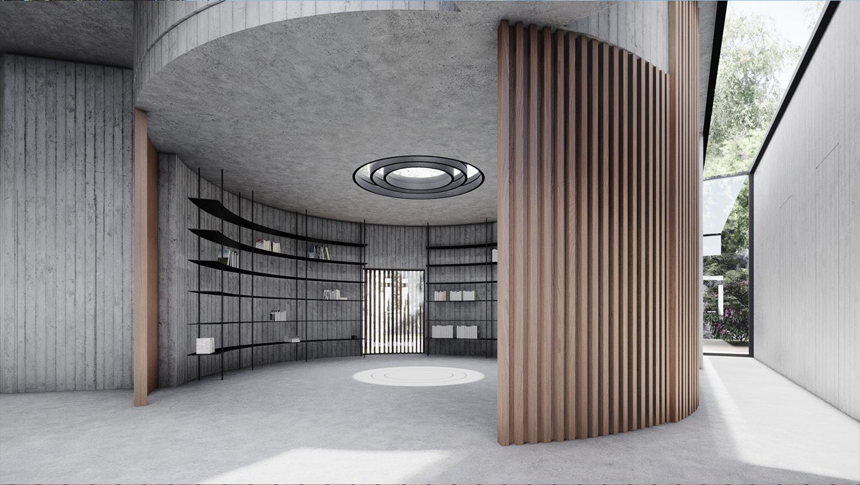 INTERNO SPAZIO CIRCOLARE MODUSLAB ARCHITECTURE INTERIOR DESIGN