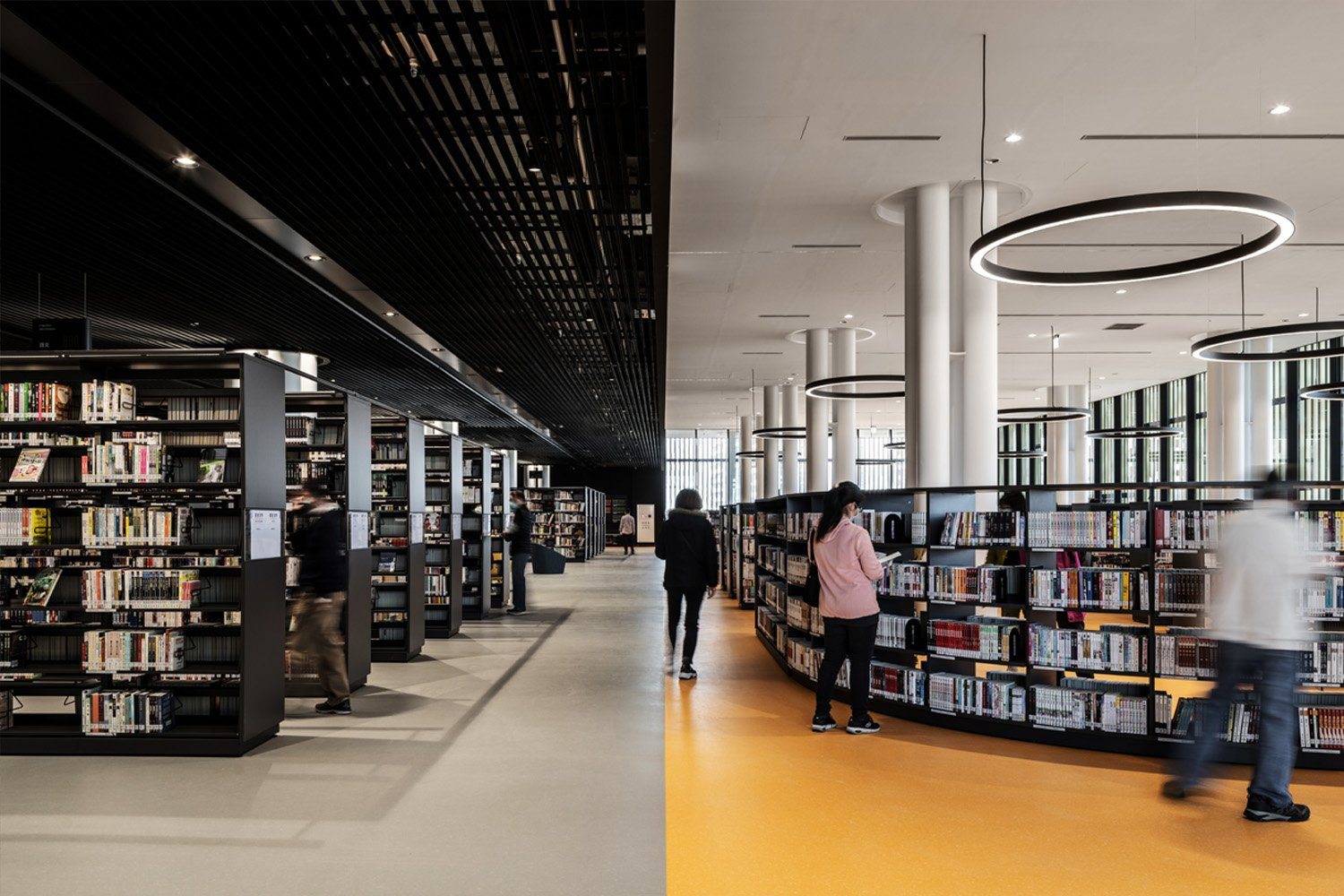 Floor finishing highlighting different areas within the library. Ethan Lee