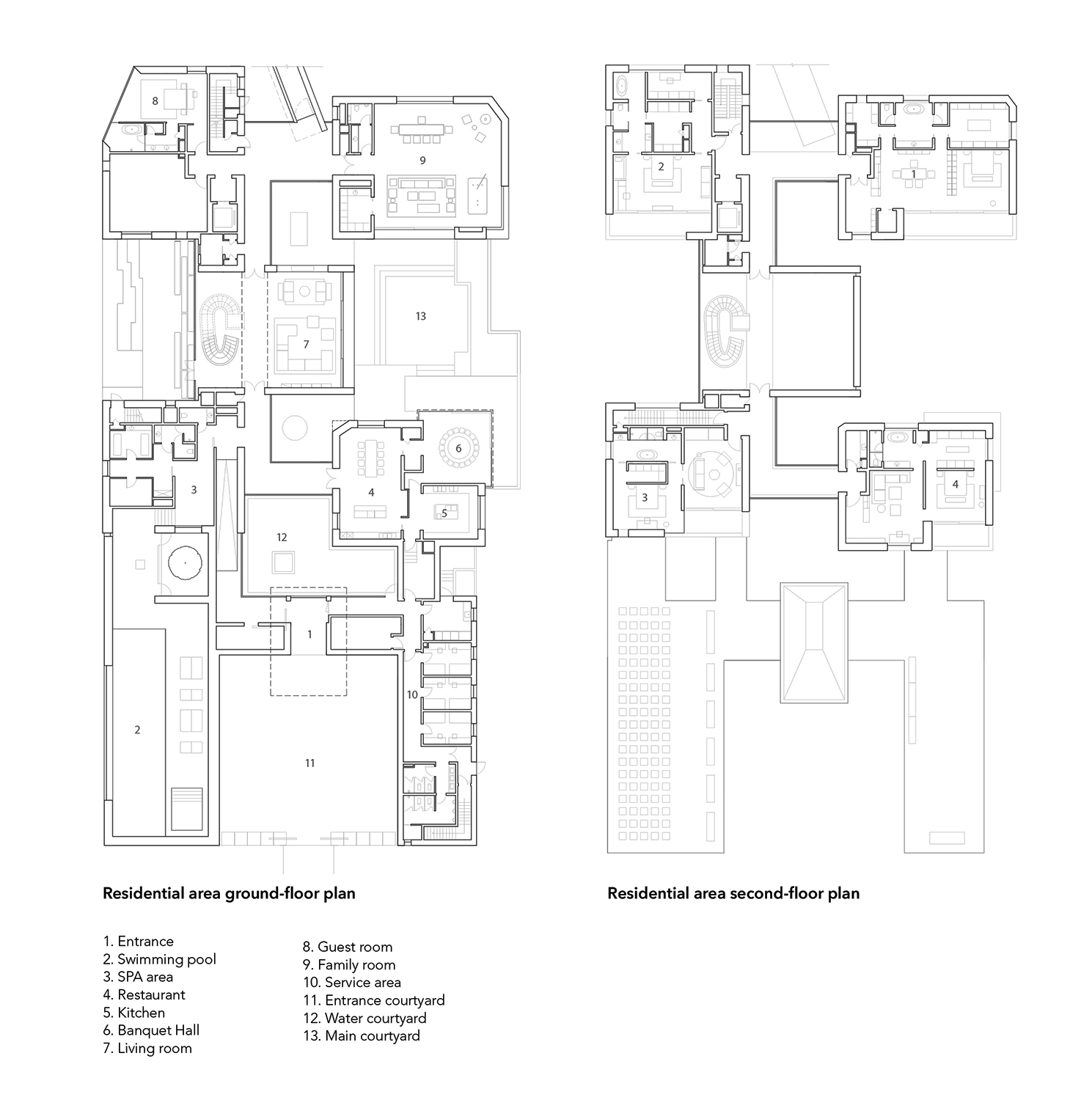 Floor plans of residential area line+}