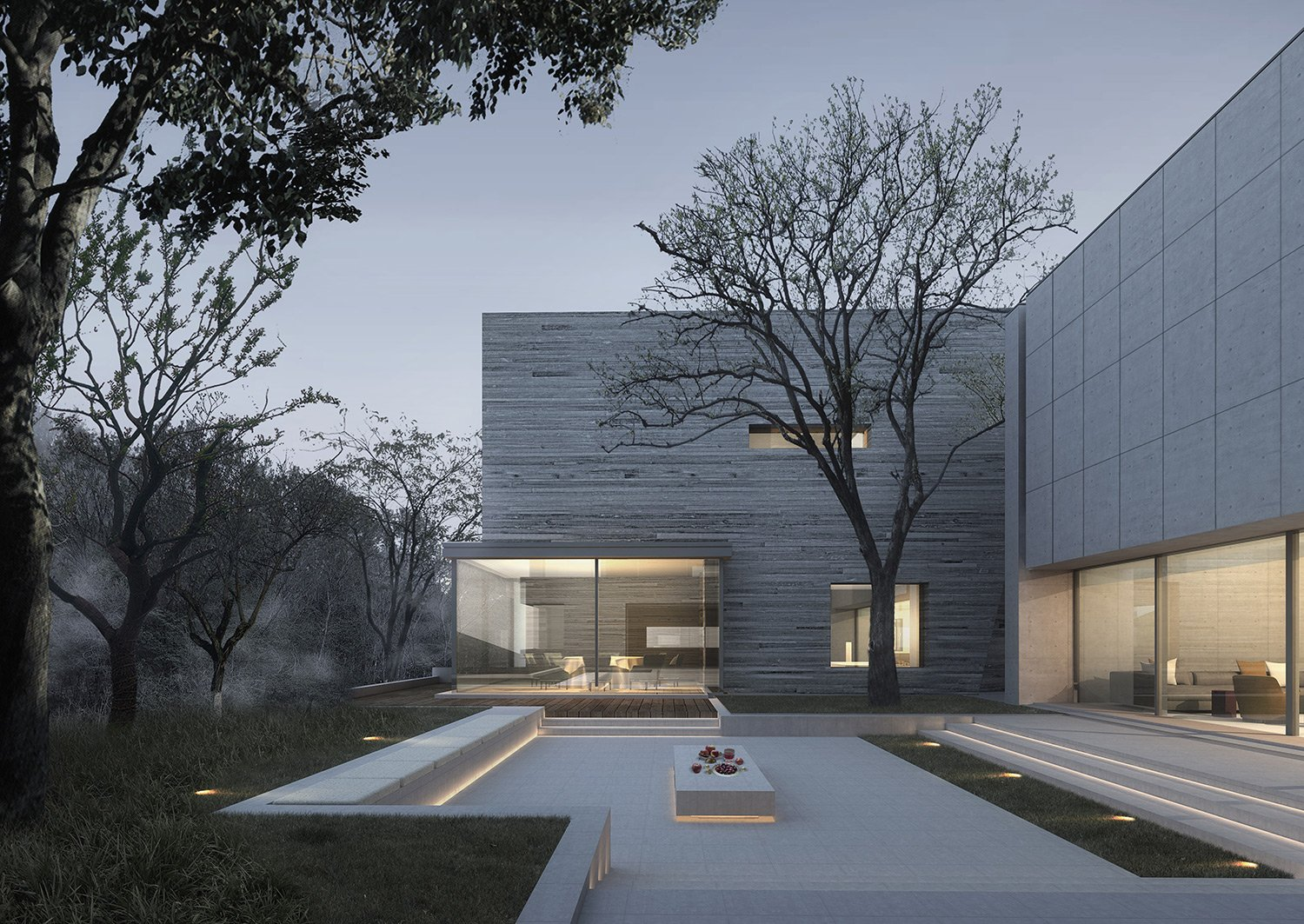 Center courtyard of the residential area line+