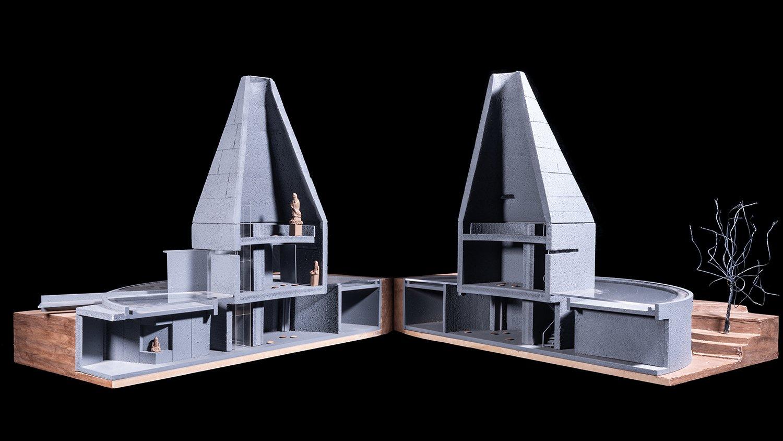 Model of the Buddhist hall line+}