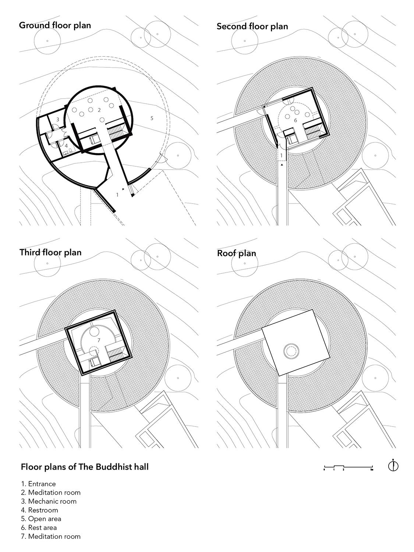 Floor plans of the Buddhist hall line+}