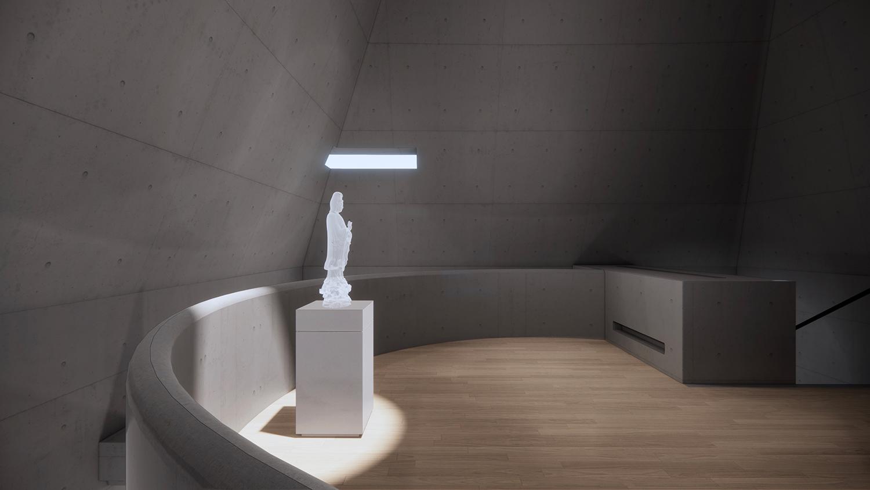Interior of the  Buddhist hall line+