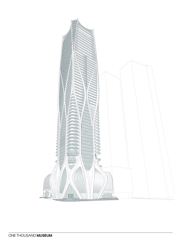Southest Elevation of One Thousand Museum by Zaha Hadid Architects Courtesy of Zaha Hadid Architects}