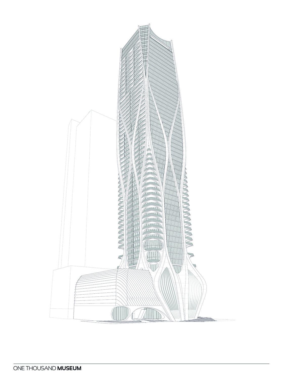Southwest Elevation of One Thousand Museum by Zaha Hadid Architects Courtesy of Zaha Hadid Architects}