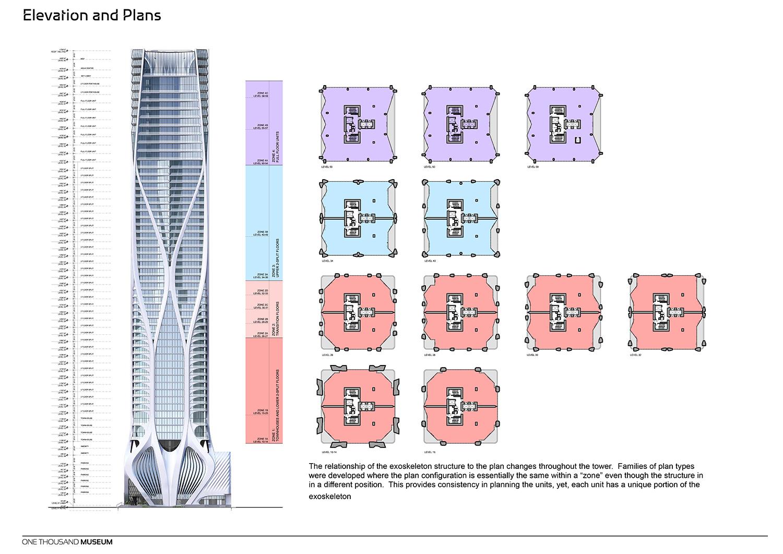 Elevation and Plans of One Thousand Museum by Zaha Hadid Architects Courtesy of Zaha Hadid Architects}
