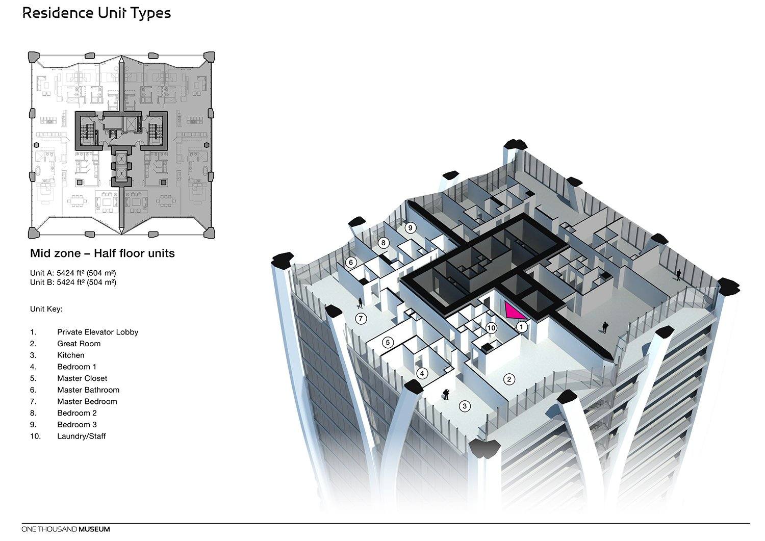 Mid Zone Half Floor Residence Unit Type at One Thousand Museum by Zaha Hadid Architects Courtesy of Zaha Hadid Architects}