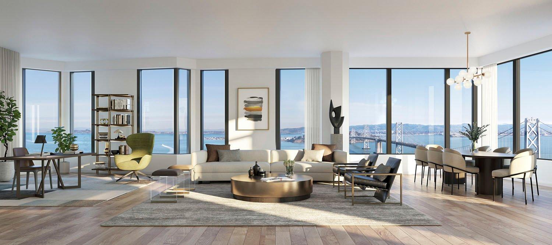 Furnished apartment render (c) Binyan and Tishman Speyer