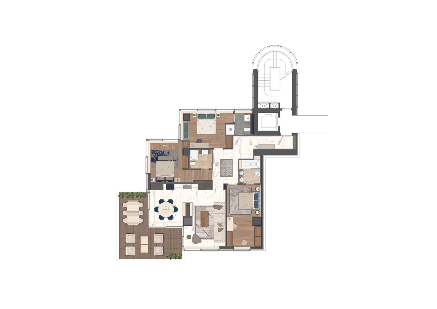 The apartment represents a unique architectural solution, combining three bedrooms and a large living area with access to the covered veranda and a magnificent panorama. Studio D73}
