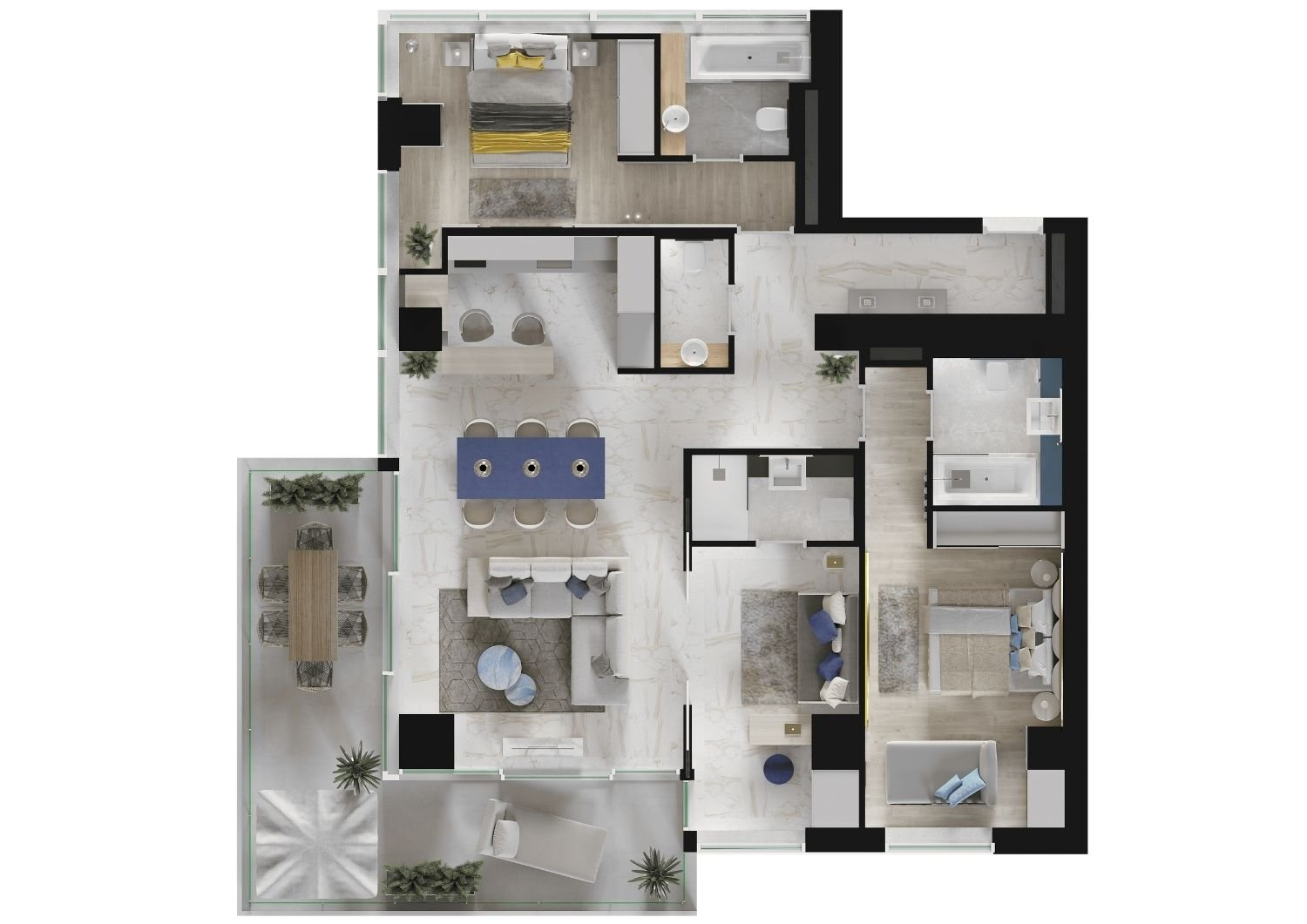 This plan shows how the third floor apartment will be. Studio D73}