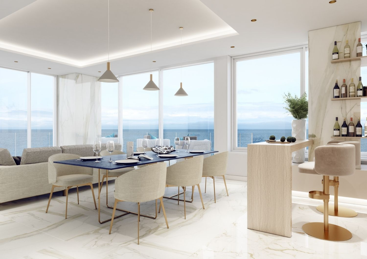 An elegant living room to  join the amazing view of the Mediterranean Sea. Studio D73