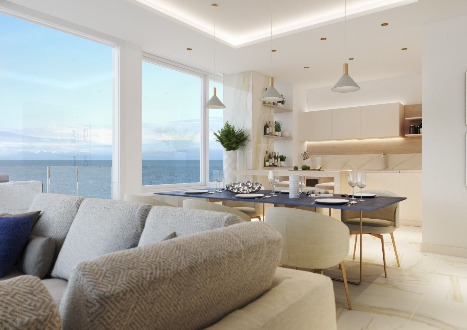 An elegant living room to join the amazing view on the Mediterranean Sea. Studio D73