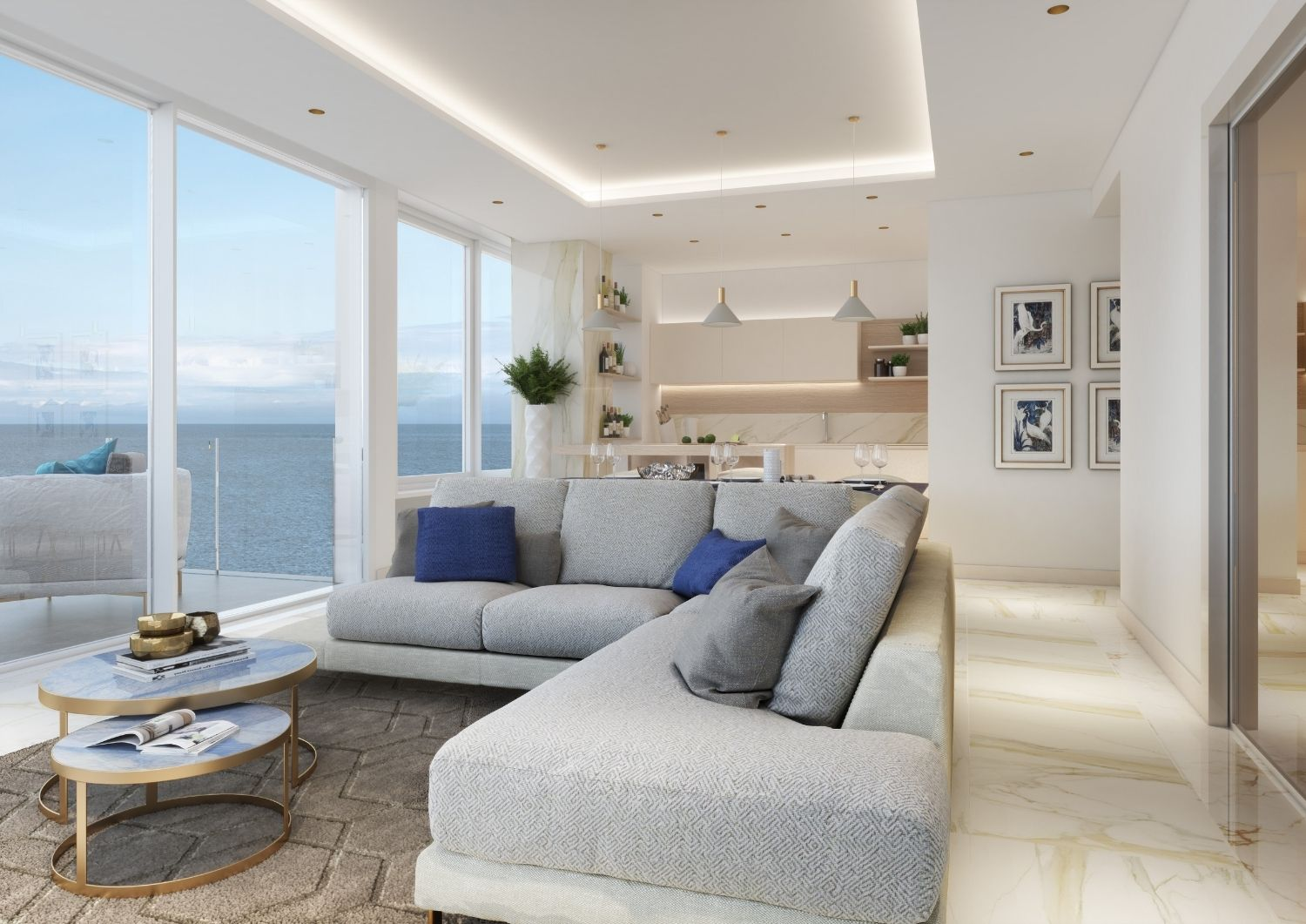 This living room shines thanks to the fine marble and the Marine setting. Studio D73
