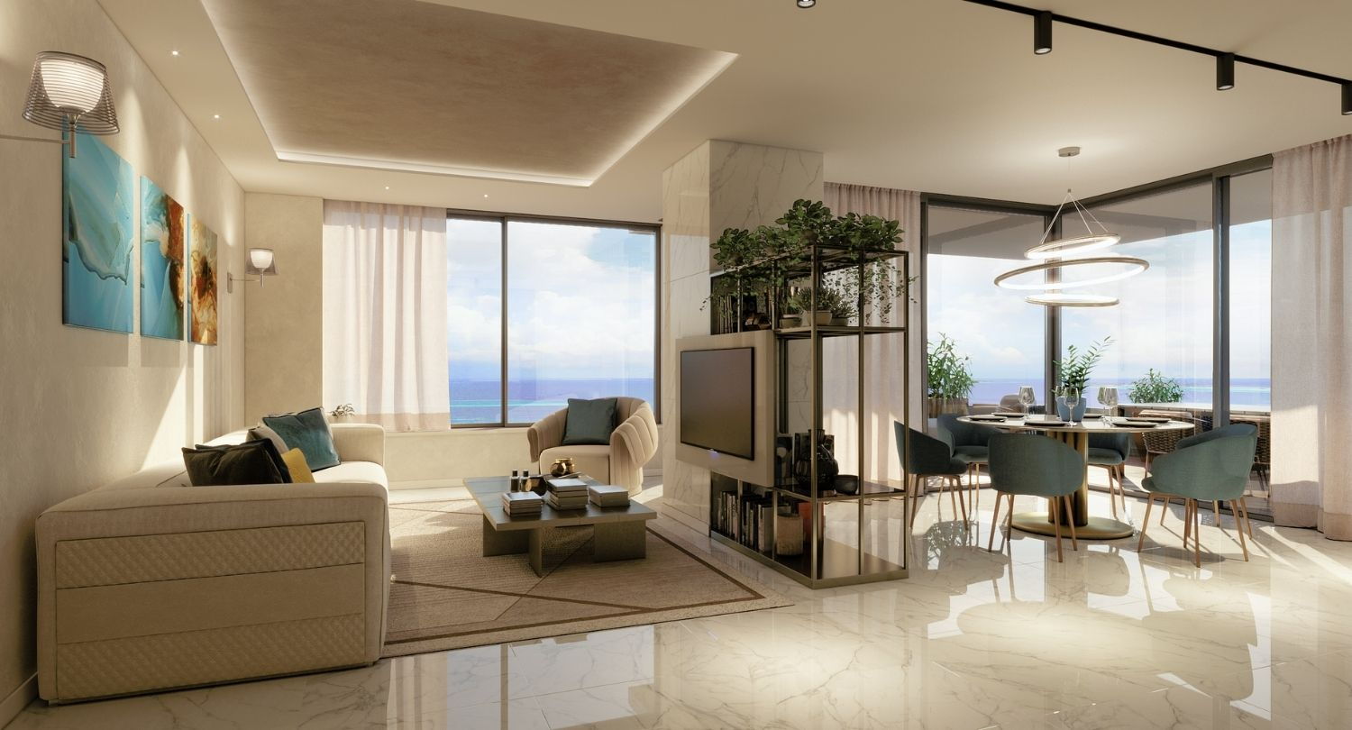 The living room on the fifth floor has warm colors and a shining mood. Studio D73