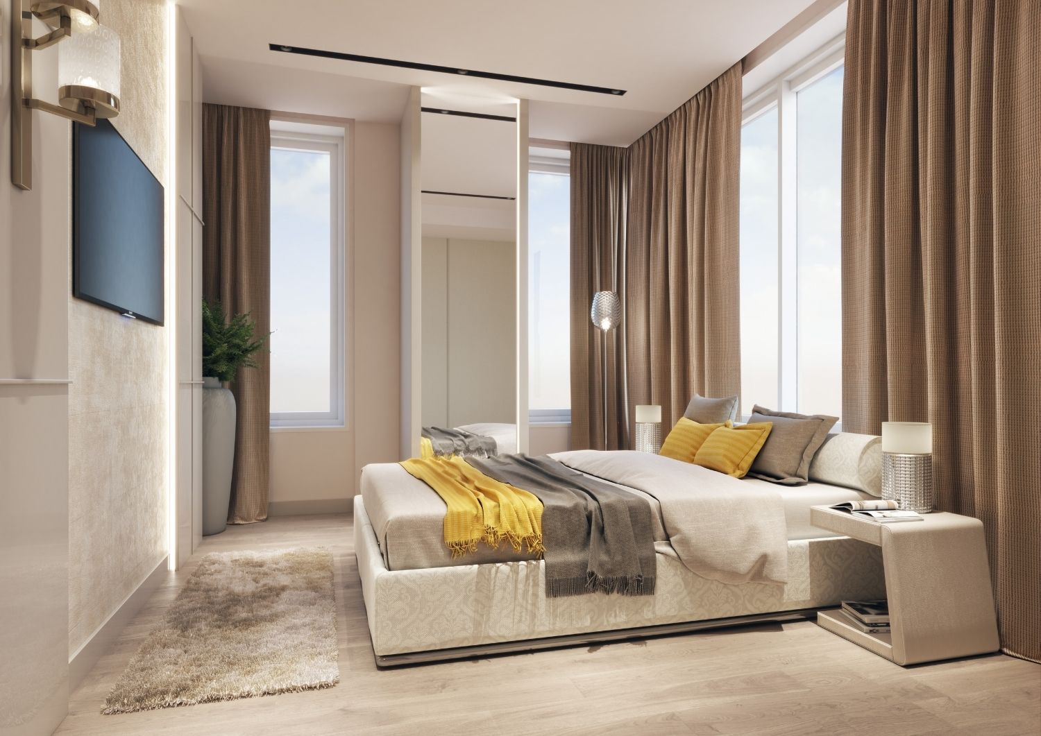 An elegant master bedroom combines perfectly with the light mood of the apartment. Studio D73