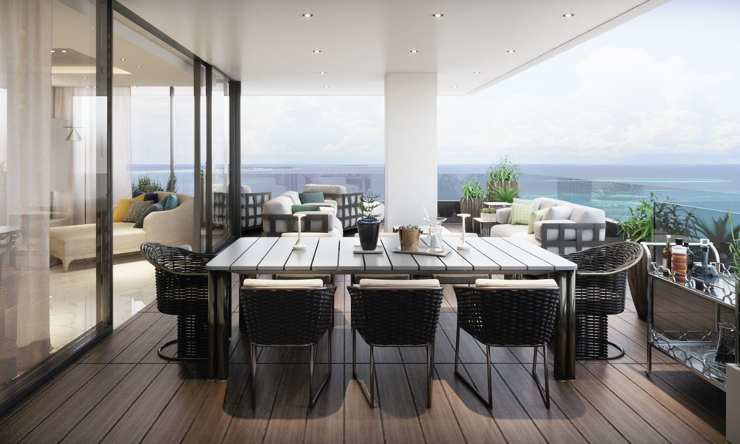 Stunning view on the Mediterranean Sea from Symbol's terrace. Studio D73