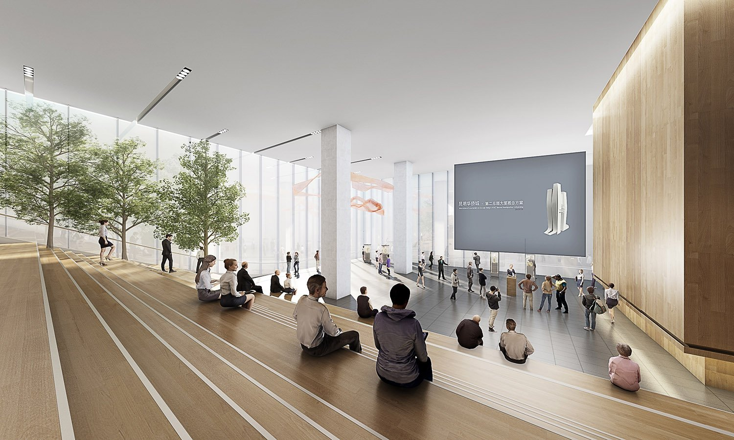 Floating Exhibition Hall Interior All renderings and drawings © Rocco Design Architects