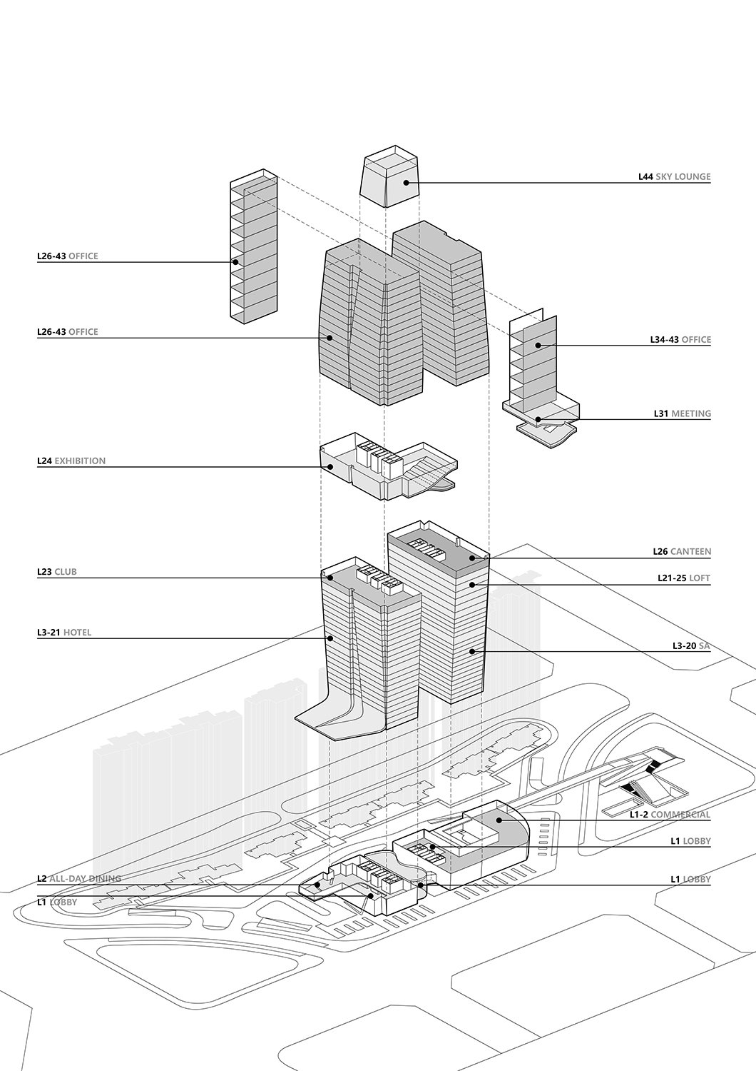 Exploded Axonometric Diagram All renderings and drawings © Rocco Design Architects}