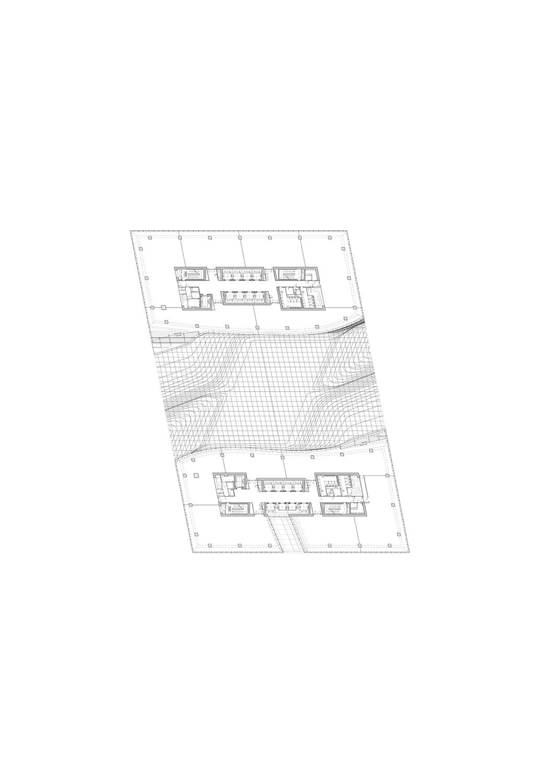 Plan level 4 of Opus by Zaha Hadid Architects Courtesy of Zaha Hadid Architects}