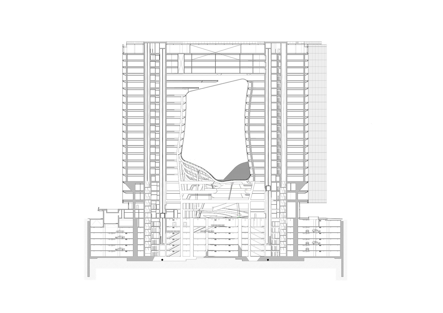 Section of Opus by Zaha Hadid Architects Courtesy of Zaha Hadid Architects}