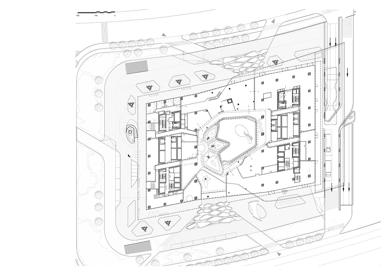 Plan Upper Ground Floor of Opus by Zaha Hadid Architects Courtesy of Zaha Hadid Architects}