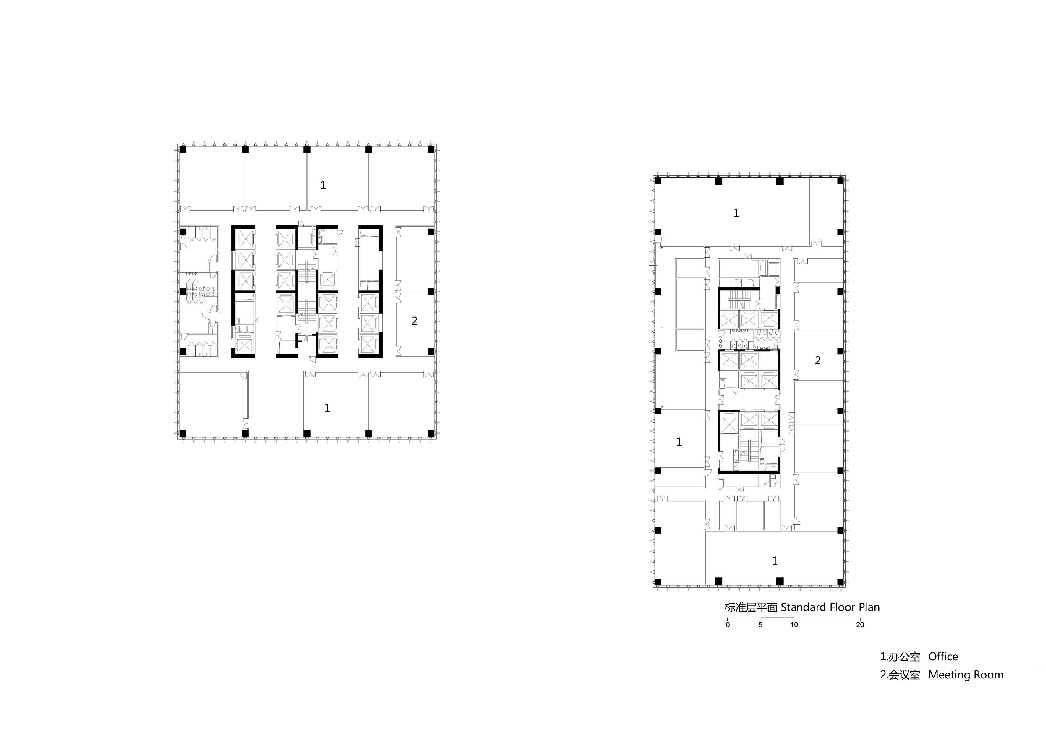 Plan of standard floor of tower Zhubo Design CO., LTD.}